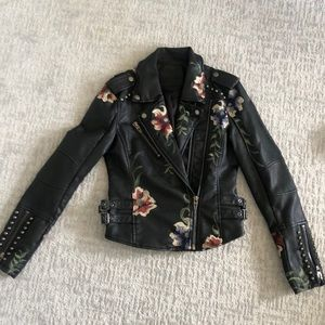 BLANC NYC vegan leather embroidered jacket XS
